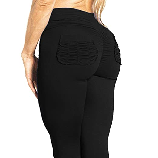 0fd26481c63 CROSS1946 Women's High Waist Back Ruched Legging Butt Lift Yoga Pants with  Pockets Push up Workout Capris