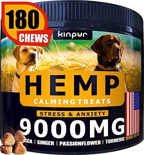 Kinpur Hemp Dog Chews and Calming Treats for Stress, Dog Anxiety Relief - Natural Calming Aid - Stress - Fireworks - Storms - Aggressive Behavior, Hip and Joint Supplement, Natural Anti-Inflammatory