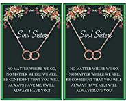 Soul Sister Necklace,BFF Necklace for 2,Two Interlocking Infinity Double Circle Necklace Sister Birthday Gift