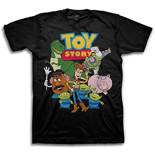Toy Story Mens Group Shirt - Woody, Buzz Lightyear, Rex & Pizza Planet - Throwback Classic T-Shirt (Black, Large) ()