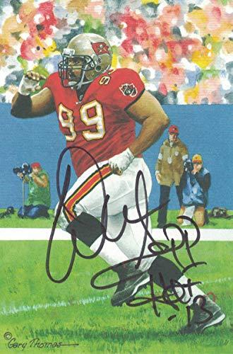 Warren Sapp Autographed Tampa Bay Buccaneers Goal Line Art Black HOF 23867 ()