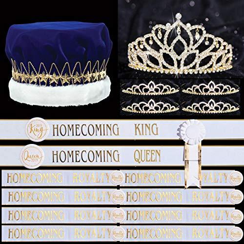 36-Piece Gold Homecoming Royalty Set, Queen Tiara, King Crown, 4 Court Tiaras, 10 White Sashes, 10 Rosettes, 10 ()