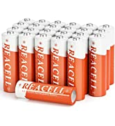 REACELL 24 Pack Solar Rechargeable AA Batteries for Outdoor Solar Lights, 1.2V 1200mAh Double A B...