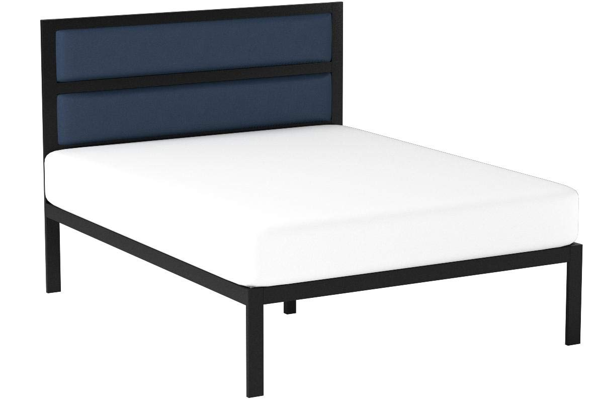 Zinus 16 Inch Platform Bed / Metal Bed Frame / Mattress Foundation with Tufted Navy Panel Headboard / No Box Spring Needed / Wood Slat Support, Twin