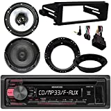 Kenwood KDC118 CD Stereo Audio Receiver - Bundle Combo With 2x Kenwood 6.5 Inch Black Coaxial Speakers W/ Adapter Brackets, Radio Dash Kit For 1998-2013 Harley Motorcycle Bikes
