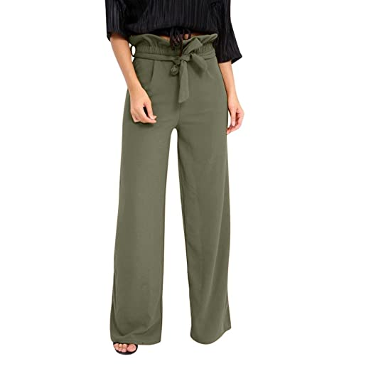 e9a70490f84 Amazon.com  Womens Casual Comfort Palazzo Long High Waist Wide Leg Pants  with Lotus Leaf Waist  Clothing
