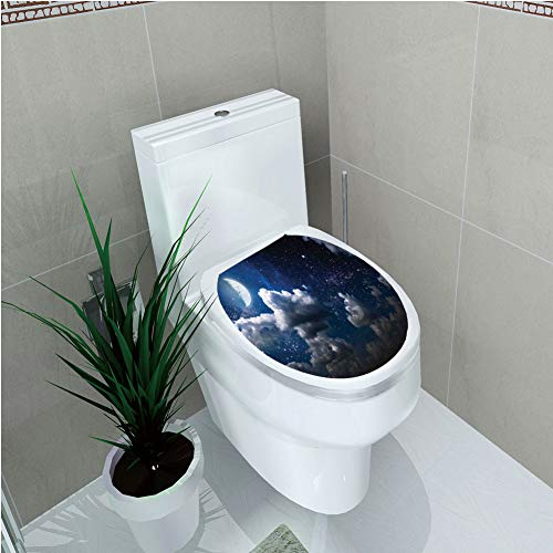 (Toilet Custom Sticker,Clouds,Celestial Solar Night Scene Stars Moon and Clouds Heaven Place in Cosmos Theme,Dark Blue White,Diversified Design,W12.6