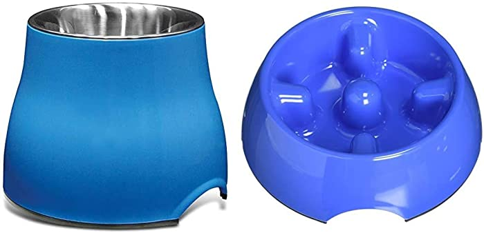 Dogit Elevated Dog Bowl and Slow Feeder Dog Food Bowl, Blue, Small