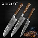 XINZUO 3pc Kitchen Knives Set 8 inch Damascus Chef Santoku Utility Knife High Carbon Stainless Steel Pro Kitchen 8 inch Chef's Knife Stainless Steel Santoku Knives New House Gift Rosewood Handle