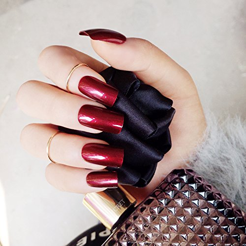 Specular Reflection Vampire Wine Red False Nails 24pcs Square Long Solid Nail Tips with Glue Sticker New Nail Art