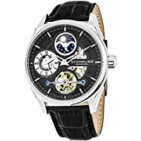 Men's 657.02 Delphi Stainless Steel Automatic Self-Wind Dual Time AM/ PM Indicator Watch With Black Leather Band