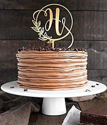 Topper Single Initial Cake Toppers Gold Letter H Cake Wedding