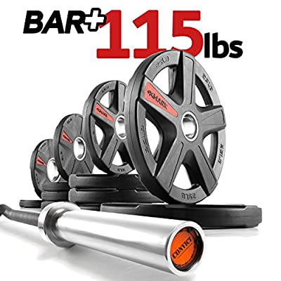 The Warden's Package, XMark CONVICT 6' Rackable Olympic EZ Curl Bar, Olympic Bar Only or Bar PLUS TEXAS STAR, SIGNATURE or TRI-GRIP Olympic Plate Weight Sets, Use with Squat Rack or Weight Bench