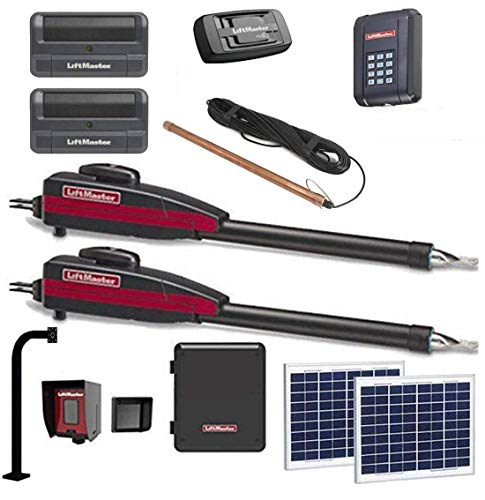 Liftmaster LA400PKGU Dual Solar Gate Sensor Opener Kit with Exit Wand, Wireless Keypad, 2 Free Liftmaster 811LM Remotes & Included 828 Gateway