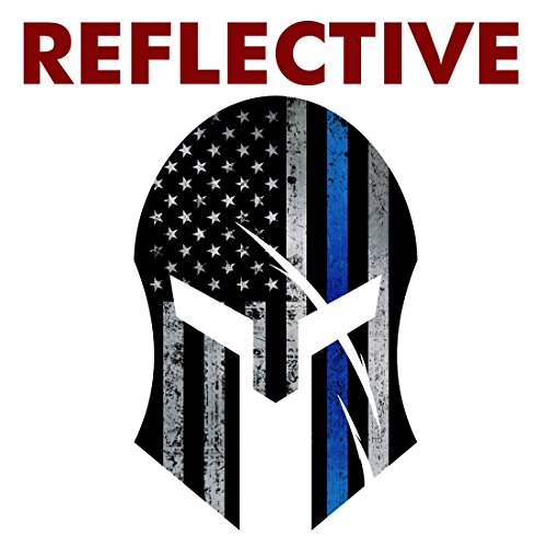 AZ House of Graphics REFLECTIVE Thin Blue Line Flag SPARTAN Sticker - #FS291 -