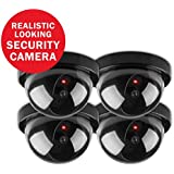 SANNCE Dome Dummy Fake Surveillance CCTV Security Camera with Flashing Red Light for Indoor/Outdoor(4 Pack)