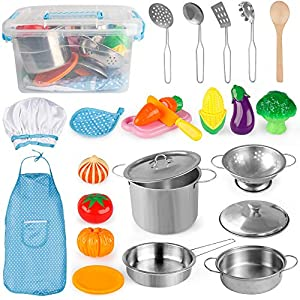D-FantiX Kids Play Kitchen Accessories Pots and Pans Set, Kitchen Pretend Play Toys Cooking Playset, Utensils, Apron and…