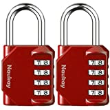 Padlocks, [2 Pack] 4 Digit Combination Lock for Gym, Sports, School & Employee Locker, Outdoor, Fence, Hasp and Storage - Red