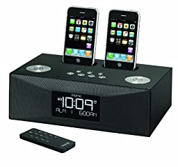 Dual Dock Alrm Clck Radio Charges/plays /universal Adapter