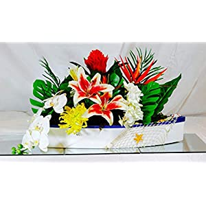 WskLinft Artificial Flower Bird of Paradise Fake Plant Silk Strelitzia Reginae Home Decor – Orange