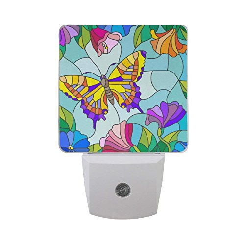 2 Pack Plug in LED Night Light Auto Sensor Dusk to Dawn Decorative Night for Bedroom, Bathroom, Kitchen, Hallway, Stairs,Babys Room - Stained Glass Butterfly Flower