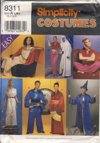 Simplicity Sewing Pattern 8311 - Easy - Use to Make - Adult Costumes - Oriental, Greek, Egyptian, Wizard, Arabic - Sizes S, M, L