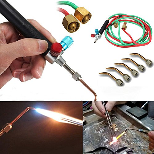 Binglinghua Jewelery Micro Mini Little Gas Torch Welding Soldering Brazing Heating Kit with 5 Tips (9/16''-18-lh)