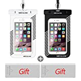 """Waterproof Case,MOSSLIAN Underwater Dry Bag Pouch for iPhone X 8 7 Plus,6 Plus,Samsung Galaxy edge s7 ,With Sensitive & Transparent screen for Cell Phone up to 6.0""""Screen[2 packs, Blak+White]"""