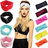 Women Cotton Turban Knot Head Wrap Headband Twisted Knotted Hair Band (white)