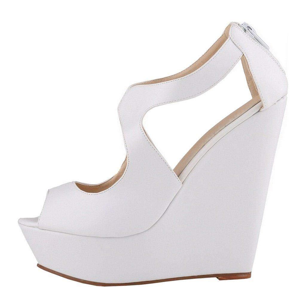 White Heels Addict's Women's shoes Peep-Toe Wedge Zip Heeled Platform Sandals