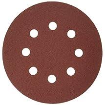 "Bosch SR5R185 5"" Hook & Loop Sanding Disc, 8-Hole, Red, 180 Grit (50 Pack)"