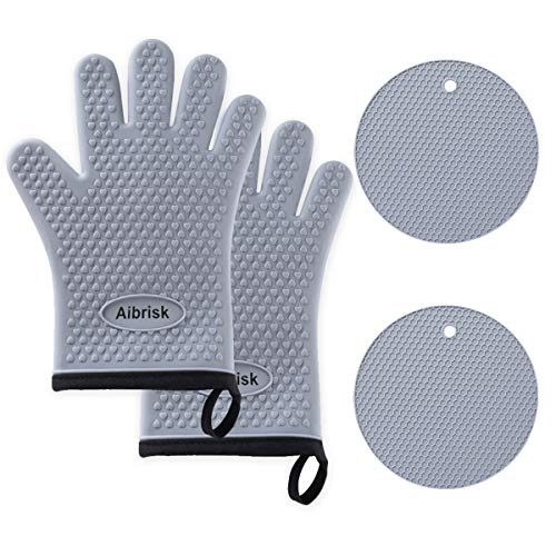 Aibrisk Silicone Resistant Potholders Pans%EF%BC%88Gray%EF%BC%89