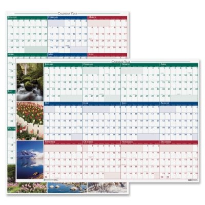 House of Doolittle Earthscapes Laminated Write-On/Wipe-Off Wall Planner, January 2014 to December 2014, 24 x 37 Inches, Nature Photos, Recycled (HOD393) (Planner Laminated Earthscapes)