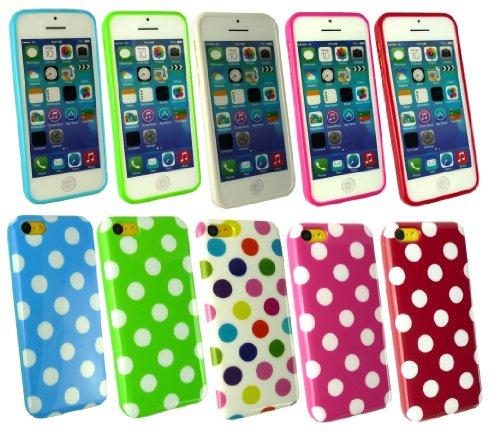 Emartbuy ® Apple Iphone 5c Bundle Pack of 5 Polka Dots Gel Skin Cover / Schutzhülle Hot Pink / Weiß, Rot / Weiß, Blau / Weiß, Grün / Weiß & Multi-Coloured