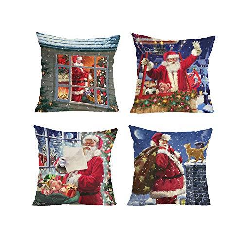 RICHEE-NL Christmas Cushion Cover Santa Throw Pillow Case for Sofa and Car 4 Pcs, Santa's Gift C (Santa Throw Pillow)