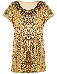 62459c47486 Women s Sequin Top Shimmer Glitter Loose Bat Sleeve Party Tunic Tops