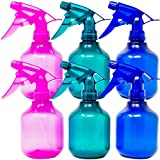 Youngever 6 Pack Empty Plastic Spray Bottles, Spray Bottles for Hair and Cleaning Solutions, 3 Assorted Colors (8 oz)