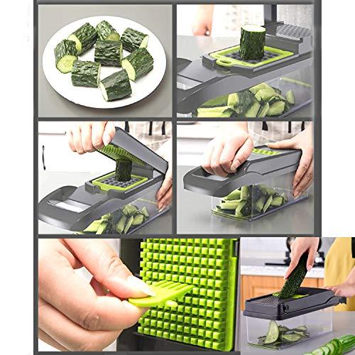 FOOLS ALIBAI Multifunktional Smart Vegetable Slicer,7 in 1 Mandolin Einstellbare Gemüseschneider Zwiebel Chopper mit großen Container Schneiden Gemüsekäse Obst schnell und gleichmäßig, Gemüsegläser