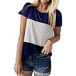 FEITONG Women Short Sleeve Round Neck Triple Color Block Stripe T-Shirt Casual Blouse (Small, Blue 2)