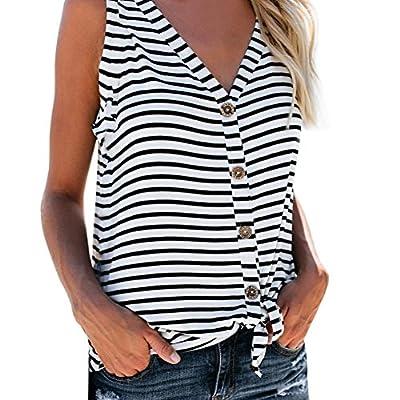 lotus.flower 2018 Womens Fashion V-Neck Button Cotton Stripe Sexy Vest Fashion Sleeveless T-Shirt