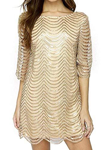 Metallic Shift - Joeoy Women's Metallic 3/4 Sleeve Wave Gold Shift Party Dress with Scallop Edge-XXL
