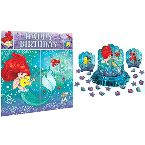 Little Mermaid Party Decorations Bundle - Scene Setter and Table Decorating Kit (Little Mermaid Decorations)