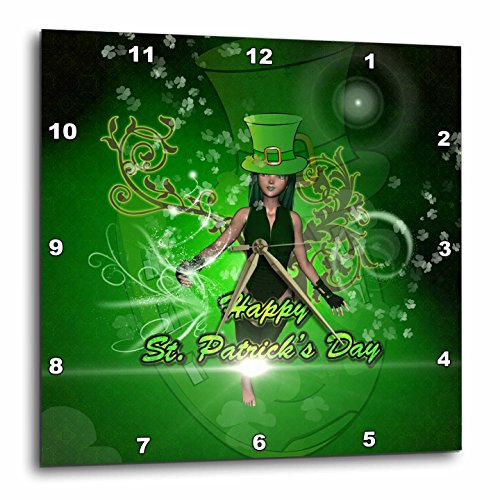 3dRose Heike Köhnen Design Holiday - Happy St. Patricks day with girl - 13x13 Wall Clock (dpp_254566_2)