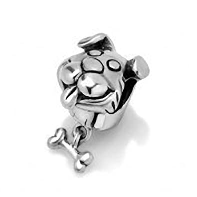 925 Sterling Silver Dog Head with Dangling Bone Charm Bead