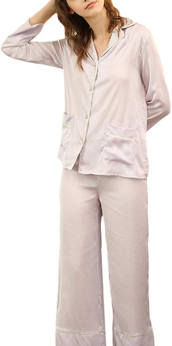 Pijamas Mujer Mujer Bolsillos Delanteros Un Solo Pecho Conjunto De Pijama Otoño Manga Larga De Solapa Elastische Taille Moda Pantalones De Pijama Camisas (Color : Violett, Size : XL): Amazon.es: Ropa y