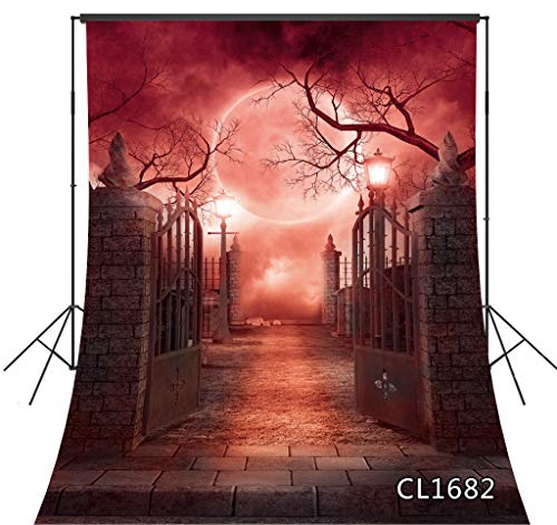 Red Moon Halloween Party (Halloween Backdrop Garden Tomb Subway Gate Red Moon Sky Horror Night 5X7FT Vinyl Photography Studio Photo Props Background Birthday Party Banner)