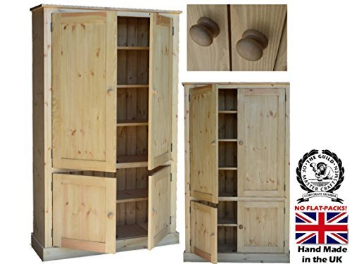 Solid Pine Storage Cupboard, Handcrafted & Waxed 4 Door Storage Linen, Pantry, Larder, Filing, Hallway or Kitchen Cabinet. Choice of Colours. No flat packs, No assembly (CUP100) by Heartland Pine (Pine Cupboard Doors)