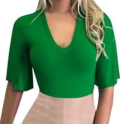 Qingsiy Tops Cortos Color sólido de Mujer Mangas Cortas, Chaleco Deportes Camiseta con Cuello En V de Mujer De Yoga Sexy Blusa Mujer Camiseta (Verde, XL): Amazon.es: Ropa y accesorios