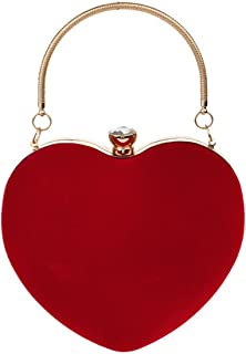 LA HAUTE Women Suede Heart Shape Clutch Purse Evening Party Handbag Wedding Bride Crossbody Bag
