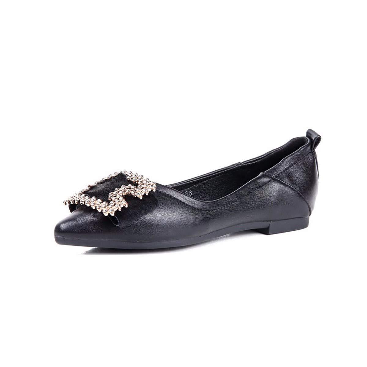 HBDLH Damenschuhe Im Frühjahr 2019 Süß Absatz 1 cm Hoch Flache Schuhe Fliege Bohrer Square Schnalle 100 Setzt Flachen Mund Einzelne Schuhe